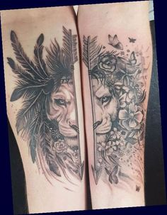 Best Couple Tattoos, Family Tattoos, Couple Lion, West Coast Tattoo, Tattoo Familie, Tattoo Casal, Lion Tattoo Design, King Tattoos, Script Tattoos