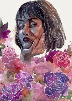 watercolor painting / art / roses / girl / Zuzanna Borucka / by Alexa