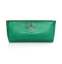 Peter Nitz Zurich - Annalena II clutch emerald green alligator with gold, diamond and gem stone Victorian dragonfly.