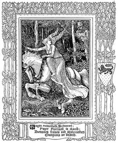Guyon encountreth Britomart, Fayre Florimell is chaced: Duessaes traines and Malecastaes Champions are defaced. Walter Crane, from Spenser's Faerie queene vol. by Edmund Spenser, London,. Vintage Illustration Art, Ink Illustrations, History Of Literature, Art History, Walter Crane, Albrecht Durer, Ink Pen Drawings, Arts And Crafts Movement, Ink Art
