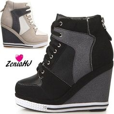 Platform Wedge Booties High Heels Sneakers Shoes #platformhighheelsblack #platformhighheelsboots