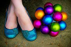 glitter shoes + ornament bouquet