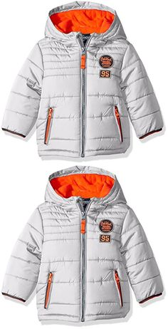 Osh Kosh Boys' Infant Classic Heavyweight Solid Puffer Coat, Silver, 24 Months