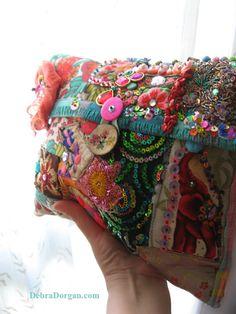 Carnivale Clutch Bag, Vintage Embroidery. Beaded, Flower Brooch, Colourful, Bohemian Bag, Gypsy, Boho, Circus, Elephant