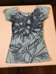 ad49b7c68275 Ed Hardy Blue Flower Diamond Shirt Don Ed Hardy Designs Size Large Read  Descrip  fashion  clothing  shoes  accessories  womensclothing  tops (ebay  link)