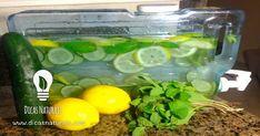 Água milagrosa de limão, pepino, gengibre e hortelã