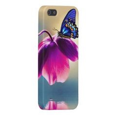 Blue Butterfly on Pink Flower iPhone 5/5s Case