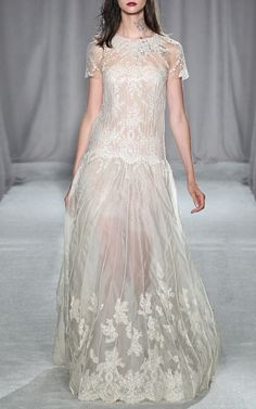 found it! Engineered Lace Gown With Pearl Embroidery by Marchesa for Preorder on Moda Operandi