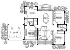 """The unique yet simple layout inside this uses light colored bricks finish in front. Elegant round columns """"dress up"""" this three-bedroom modern house design. It's clas… Bungalow House Plans, Tiny House Cabin, Modern House Plans, Small House Plans, Small House Design, Modern House Design, Craftsman Floor Plans, Raised Bed Garden Design, Three Bedroom House Plan"""