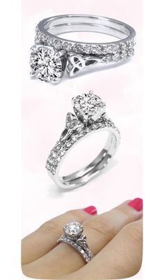 Celtic Knot Engagement Ring with Diamond Accents & Matching Wedding Band