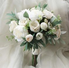 Silk Wedding Bouquet Boho Bouquet Bridal Bouquet Silk Flowers Artificial Bouquet Wedding Flowers White Cream and Green Olive foliage Small Bridal Bouquets, Silk Bridal Bouquet, Silk Wedding Bouquets, White Wedding Flowers, Bride Bouquets, Bridal Flowers, Flower Bouquet Wedding, Bridesmaid Bouquet, Silk Flowers