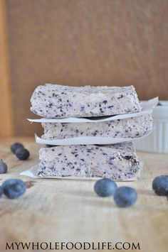 Blueberry Bliss Bars (made with only 4 ingredients -- coconut cream, blueberries, vanilla, and maple syrup) #local #organic #blueberries #bookmarking #recipes @bluemoonorganic