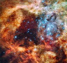 Stellar grouping within the 30 Doradus Nebula. Some of the stars here are 100 times larger than our sun.