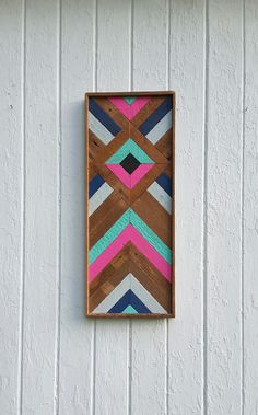 """Chevron de arte listón de madera reciclada de la pared de la pared decoración diamante diseño mosaico geométrico 10,75"""" por 26,75"""""""
