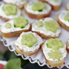 I adore how these Open-Faced Cucumber Tea Sandwiches look on this pretty milk glass platter.