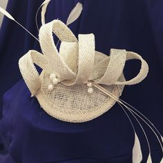 Ivory cream Sinamay wedding fascinator hairpiece with Ivory coq feathers - Welsh Hats by Sian 2016