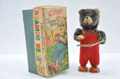 Vintage Boxed Cubby The Reading Bear ALPS Trademark Wind Up Litho Tin Toy,Japan #Marx