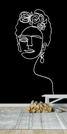 Frida Kahlo Black And White wall mural from Happywall Black And White Costume, Frida Art, Small Sunflower, Sunflower Wallpaper, Black And White Wallpaper, Abstract Line Art, Doodle Designs, Line Drawing, Wallpaper Backgrounds