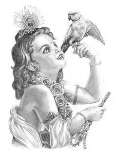 Radha Krishna Sketch, Arte Krishna, Krishna Drawing, Krishna Painting, Lord Krishna, Krishna Leela, Krishna Radha, Abstract Pencil Drawings, Art Drawings Sketches Simple