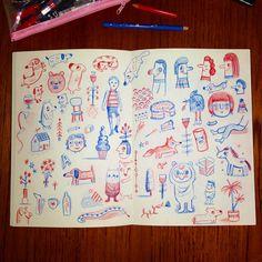 Red and blue. #sketchbook #drawing #sketch #doodle #illustration #red #blue (c)Linzie Hunter