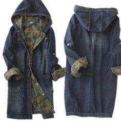 Single-breasted long denim hooded jacket camouflage high quality women denim…