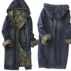 Single-breasted long denim hooded jacket camouflage high quality women denim…