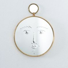 Piero Fornasetti Rare Face Mirror Viso, Italy circa 1965 Piero Fornasetti, Beautiful Mirrors, Beveled Mirror, Mid Century Modern Design, Midcentury Modern, Moon, Italy, Brass, In This Moment