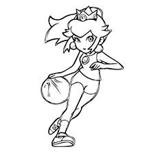 princess peach play basket ball