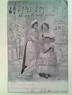 Cartolina illustratoria artisti musicali N. 2162- firmata. Opera LEONCAVALLO Zazà atto 1. Cartolina d'epoca. Vintage di LaCasadiAnto su Etsy