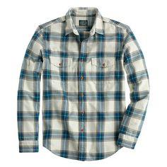 Slim flannel shirt in faded chino herringbone plaid | size small