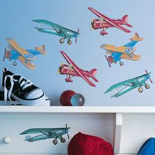 A range of themed wall stickers for boys bedrooms from Roommates and Wallies. Our boys wall stickers include dinosaur, planets, aeroplane and pirate themes. Airplane Wall Art, Airplane Wallpaper, Airplane Decor, Airplane Room, Boys Wall Stickers, Wall Decals, Little Boys Rooms, Kids Rooms, Airplane Gifts