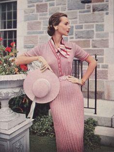 Pink & Red • 1950s Knitting Dress Shirtdress • 50s Vintage Engagement Vogue Pattern • Retro Women's Knit Digital PDF