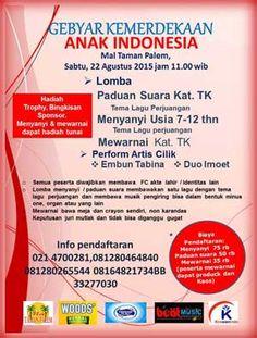 #Lomba #GebyarKemerdekaan #AnakIndonesia #LombaPaduanSuara #LombaMenyanyi #LombaMewarnai Gebyar Kemerdekaan Anak Indonesia 2015 Lomba Paduan Suara, Lomba Menyanyi, dan Lomba Mewarnai  ACARA: 22 Agustus 2015  http://infosayembara.com/info-lomba.php?judul=gebyar-kemerdekaan-anak-indonesia-2015-lomba-paduan-suara-lomba-menyanyi-dan-lomba-mewarnai