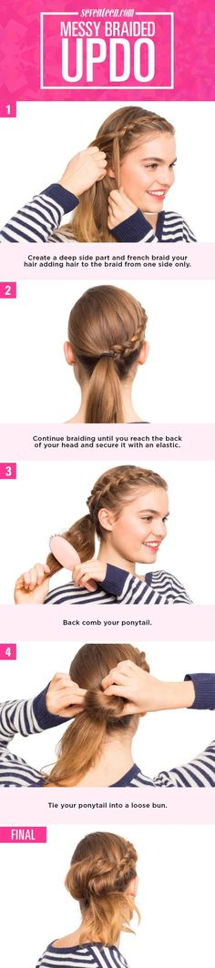 1. Create a deep side part and french braid your hair, adding hair to the braid from one side only so the braid is flexible and sweeps across your face and around your head.  2. Continue braiding until you reach the back of your head and secure it with an elastic. Pancake your braid.  3. Gather all of your hair into a low ponytail using an elastic. Backcomb your ponytail.   4. Take a second elastic and tie your ponytail into a loose bun.