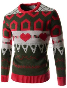 (FFT40-GREEN) Mens Casual Slim Round Neck Heart Pattern Knitted Long Sleeve Tshirts