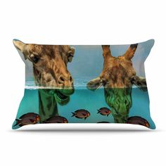 """Suzanne Carter """"Larry & Fred Periscope"""" Mixed Media Animals Pillow Sham"""