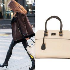 Model JI Yun-M spotted with our Paul's Boutique Maisy handbag in classic matte cream. Shop >> www.paulsboutique.com x