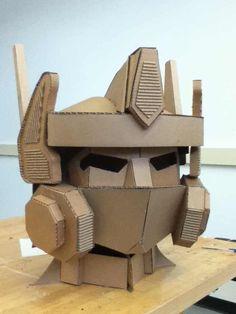 Optimus Prime's head made out of cardboard - Imgur Cardboard Robot, Cardboard Costume, Cardboard Sculpture, Cardboard Paper, Cardboard Furniture, Cardboard Crafts, Paper Crafts, Cardboard Playhouse, Paper Clay