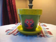 hand painted owl flower pots