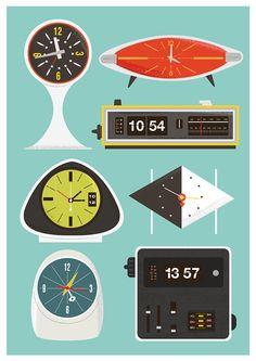 Retro Clock print, Mid Century poster, Eames era, vintage clock, flip clock illustration, nursery decor A3. $22,00, via Etsy.