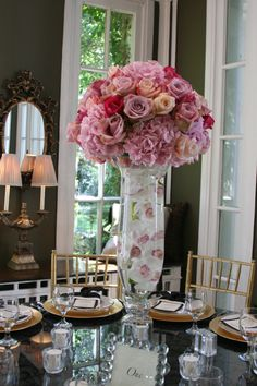 pink rose and hydrangea centerpieces
