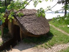 Viking pithouse used to store food (viking village in Frederikssund, Denmark)