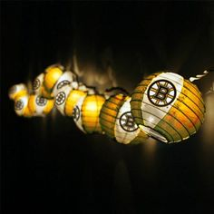 Boston Bruins Team Lanterns & Lights Set. They always have these yellow lanterns at Christmas tree shop