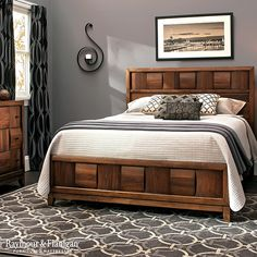 Black and white with some shades of gray. This color scheme doesn't always have to be so rigid. Take this space for example. Adding some warmer hues helps create a space you'll love throughout the year. Wood Bed Design, Bedroom Bed Design, Bedroom Furniture Design, Bed Furniture, Interior Design Living Room, Bedroom Ideas, Double Bed Designs, King Bedroom Sets, Master Bedroom