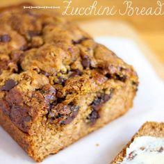 Chocolate Chip Zucchini Bread Recipe Breads with shredded zucchini, sugar, oil, vanilla, eggs, flour, baking soda, salt, ground cinnamon, ground cloves, baking powder, brown sugar, chocolate chips