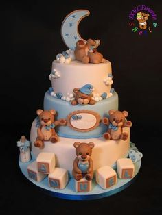 Sweet Baptism - Cake by Sheila Laura Gallo Baby Birthday Cakes, Baby Boy Cakes, Cakes For Boys, Torta Baby Shower, Christening Cake Boy, Teddy Bear Cakes, Teddy Bear Baby Shower, Boy Baby Shower Themes, Novelty Cakes