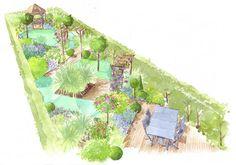 le jardin long et étroit