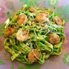 Heather's Helpings: Homemade Pasta with Garlic Herb Shrimp and Asparagus-Spinach Pesto