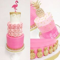 Stunning pineapple and flamingo cake from @sweet_deetails and @kacyhyder