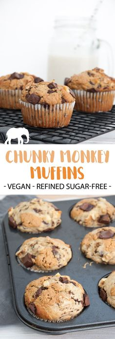 Chunky Monkey Muffins with bananas, chocolate, peanut butter, and walnuts (Vegan and Refined Sugar-Free) | ElephantasticVegan.com #vegan #muffins #chunkymonkey